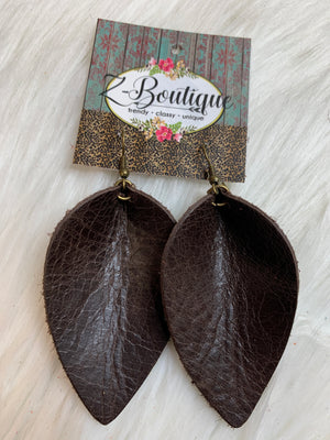 Teardrop Leather Earring