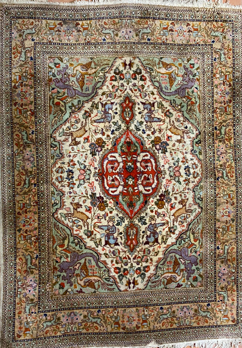 "Semi Antique Hand Knotted Turkish Pictorial Rug, Wool . 8'6"" x 4'10"""