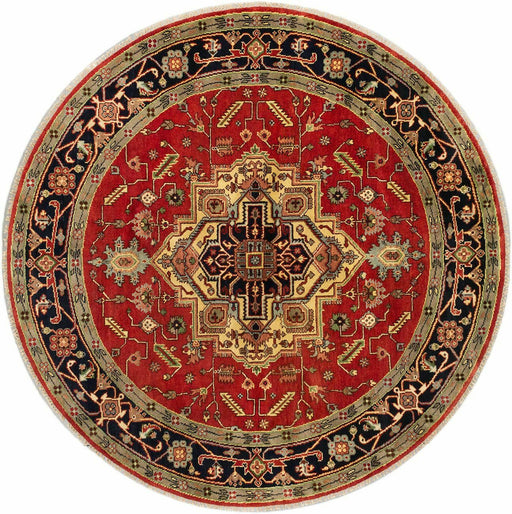 "Oriental Hand-knotted Rug 8'0"" x 8'0"" Serapi Heritage Traditional Wool Rug, round - EZ Rugs & Art -rug"