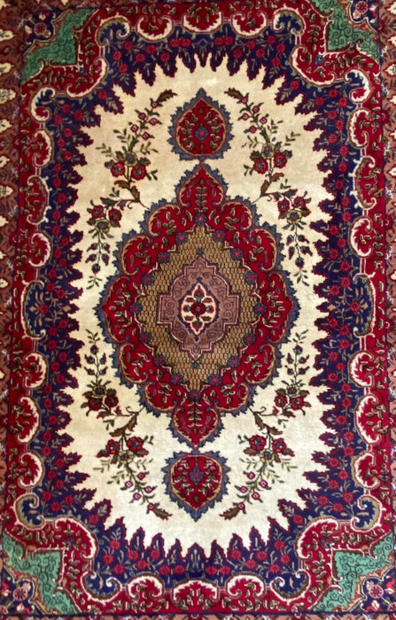 "Persian Tabriz Rug, Wool, 9'8"" x 6'9"""