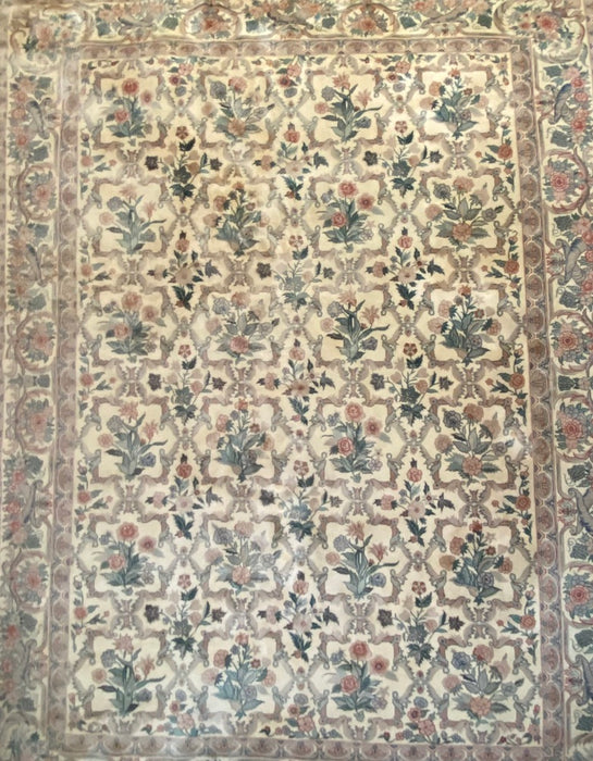 "Oriental  French Floral Rug- 8'10"" x 12'1"", wool."