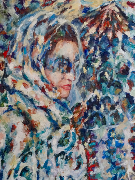 Women Behind Shadows II, 4' x 3', oil painting - EZ Rugs & Art -art