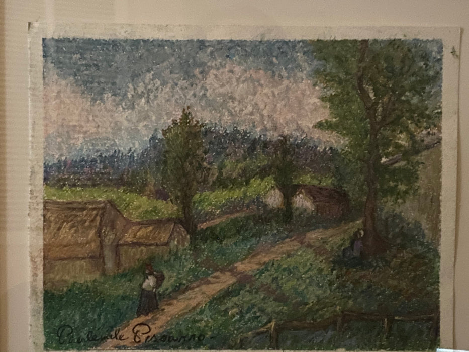 Certified Authentique Paul Emile Pissarro Pastel Painting in Original Frame
