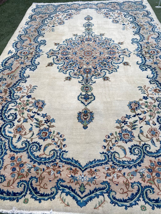 1940s Persian Kerman Rug, Hand Knotted, Wool. 7.1 X 11.