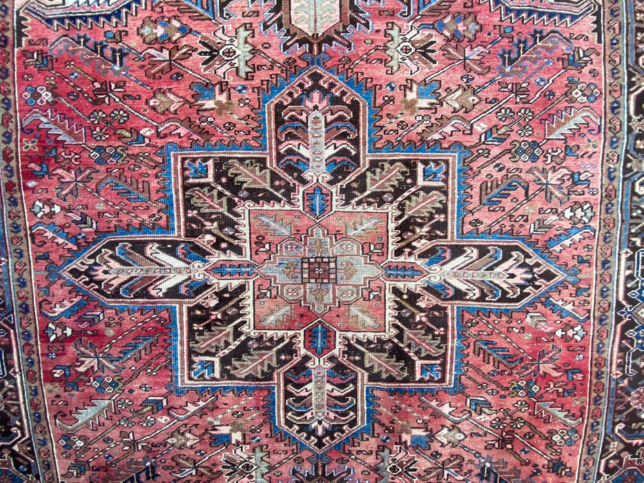 "Persian Hand Knotted Heriz, Antique, 19450s, 8'5"" x 10'11"", Wool"