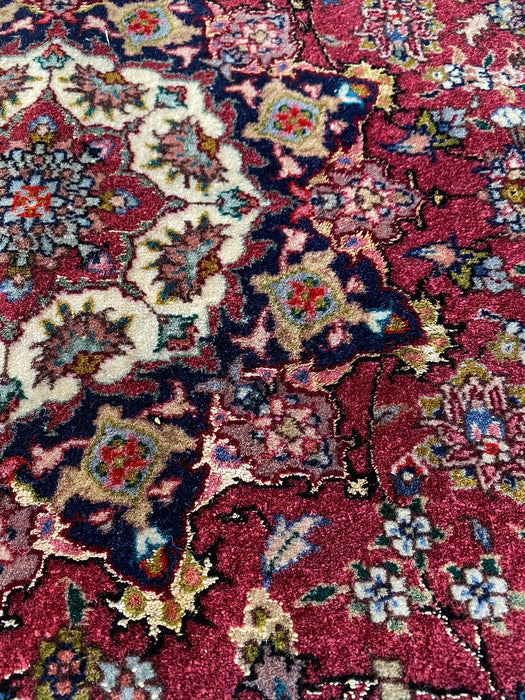 Persian Mashad Design Hand Knotted Rug, 5' x 3' , Silk and Wool, 400 KPSI - EZ Rugs & Art -rug