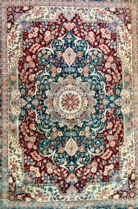 Vintage Persian Tabriz Hand Knotted Rug, Wool, 9 x 12', Wool