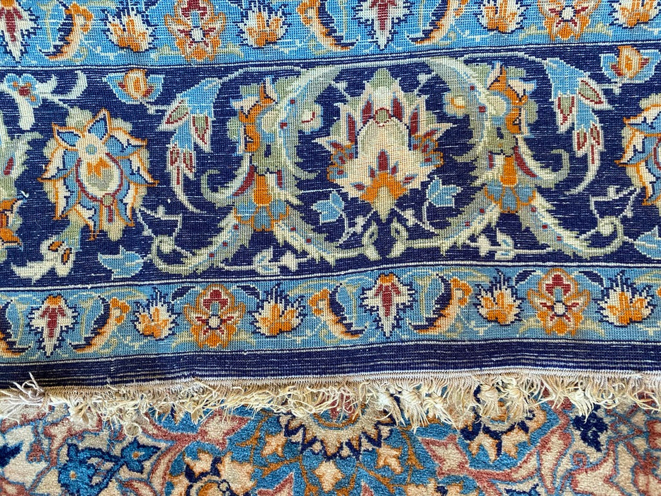 "Antique Persian Isfahan,3'6""x5'2"",  Lamb Wool on Silk, Kpsi 620-640"