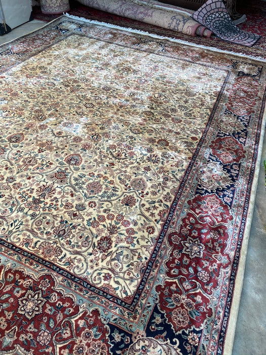 "1960s Vintage Persian Tabriz Hand Knotted Rug, 10' x 7' 9"", Woll-Kork - EZ Rugs & Art -rug"