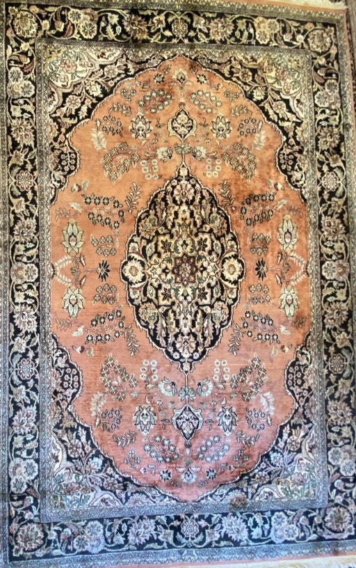 "Vintage Persian Rug, Kashan Pure Silk Rug, Hand Knotted Rug,Area Rug, 8'10"" x5'9.5'', 250  knots in square inch - EZ Rugs & Art -rug"