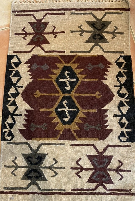TRIBAL GEOMETRIC TURKISH SERAPI HERIZ KILIM 2x3.2 RUG.