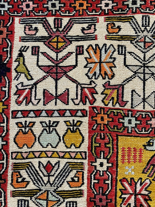 Persian Silk Needle Work Pictorial Kilim