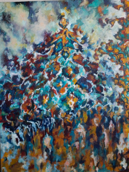 Isfahan ii, oil painting 4' x 3', - EZ Rugs & Art -art