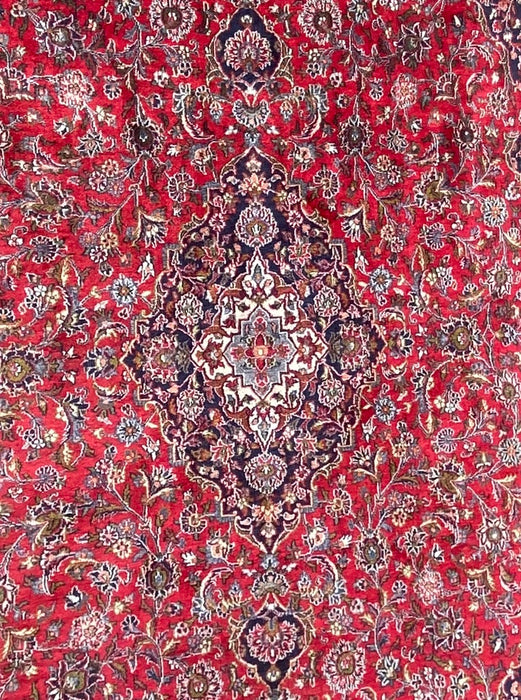 "Persian Kashan Rug- 9' 6"" x 12'9"", Wool."