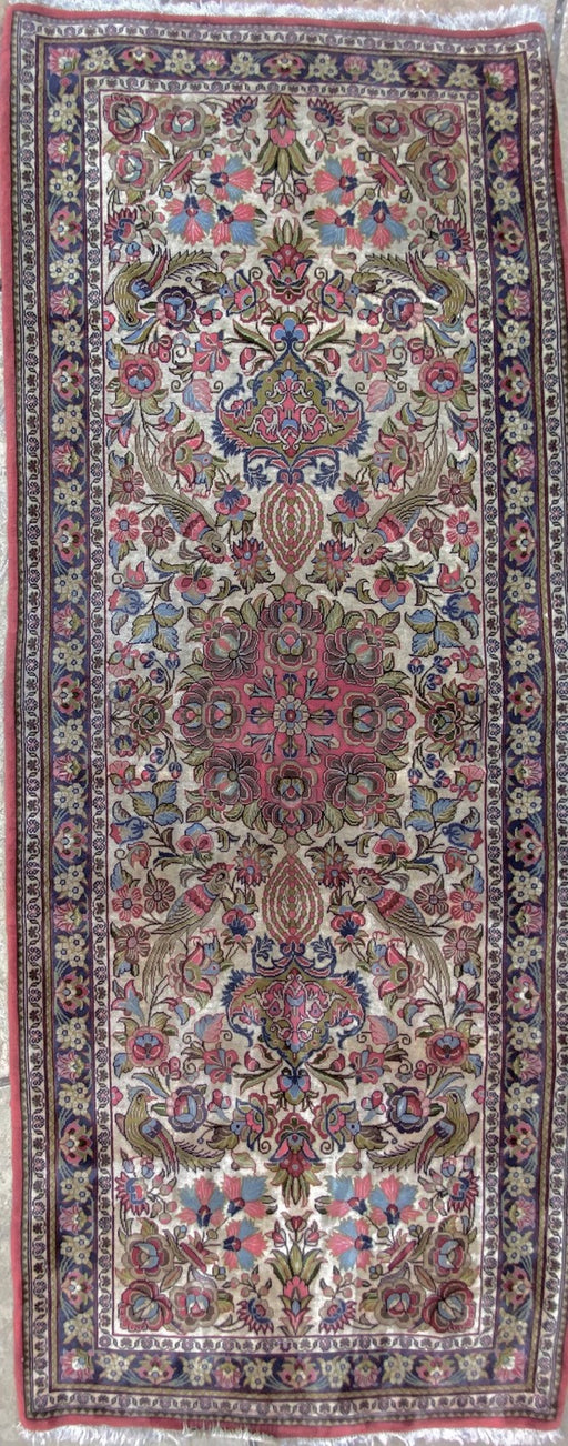 "Hand Knotted Persian Runner Rug, Isfahan Rug, Gol O Bolbol Rug, 2' 8"" x 6'10 "" - EZ Rugs & Art -rug"