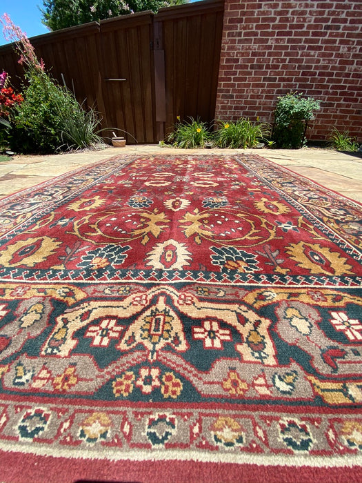 "Turkish Red Rug, Oushak, 5'7"" x 8' 5"" - EZ Rugs & Art -rug"