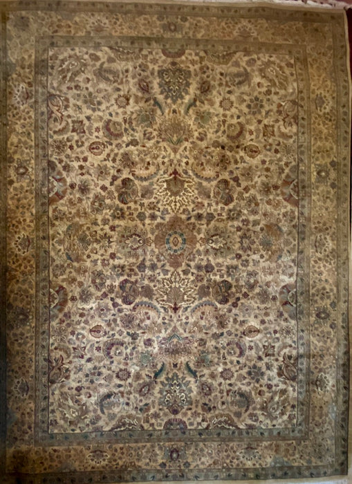 "Persian Tabriz Rug,  13'7"" x 10' 2"", Hand Knotted Wool Rug"