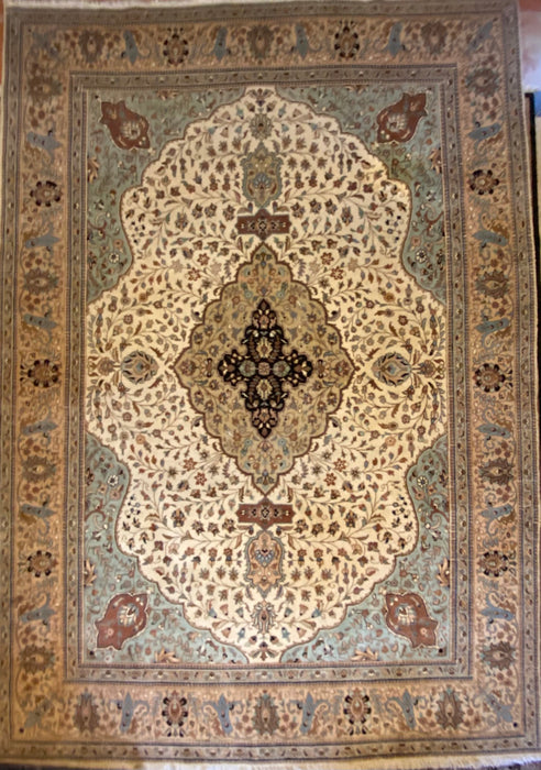 "Persian Kashan Hand Knotted Rug, Wool, 9'4"" x 13'8"""