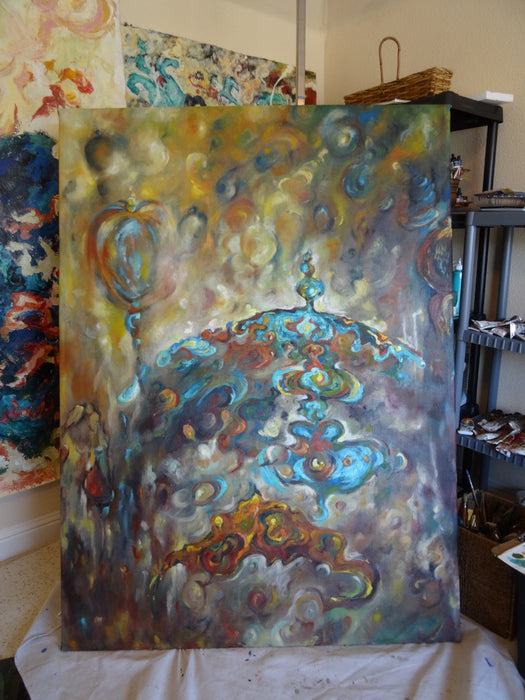 "Blue Dome, Original Oil Painting.  68"" H x 49.5"" W in - EZ Rugs & Art -art"