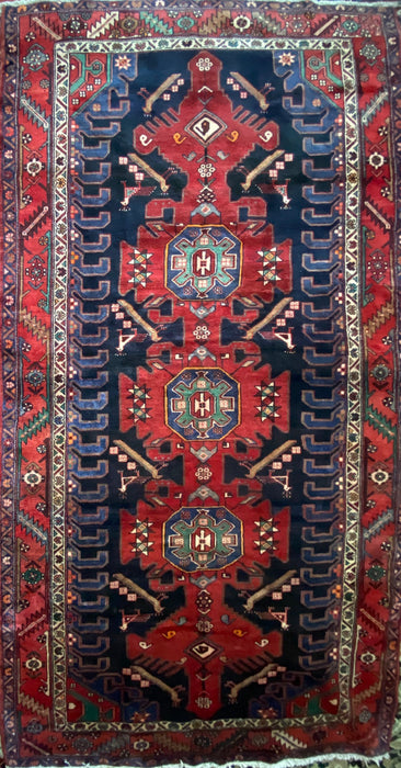 ARMENIAN WEAVE AUTHENTIC HANDMADE VINTAGE PERSIAN RUG, 10X5.2, Peacock Symbols