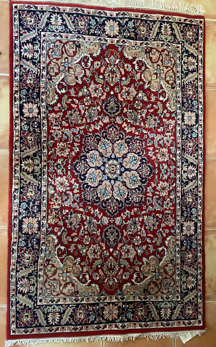 Vintage Persian Rug Hand Knotted, 6.5' x 4', Mashad Rug. - EZ Rugs & Art -rug