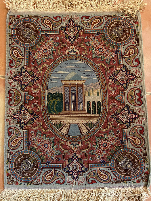 "Small Hand Knotted Persian Tabriz Pictorial Rug, 1'8""x2'2"""