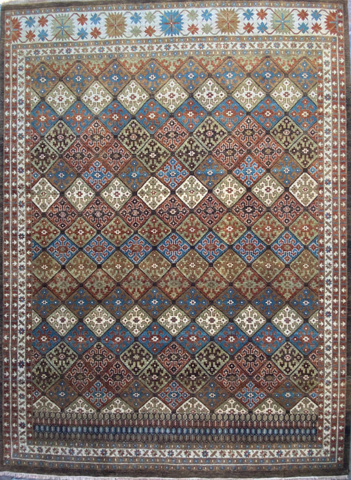 "Geometric Afshar Design Hand knotted Rug, Wool, 8' 4"" x 11' 7""."