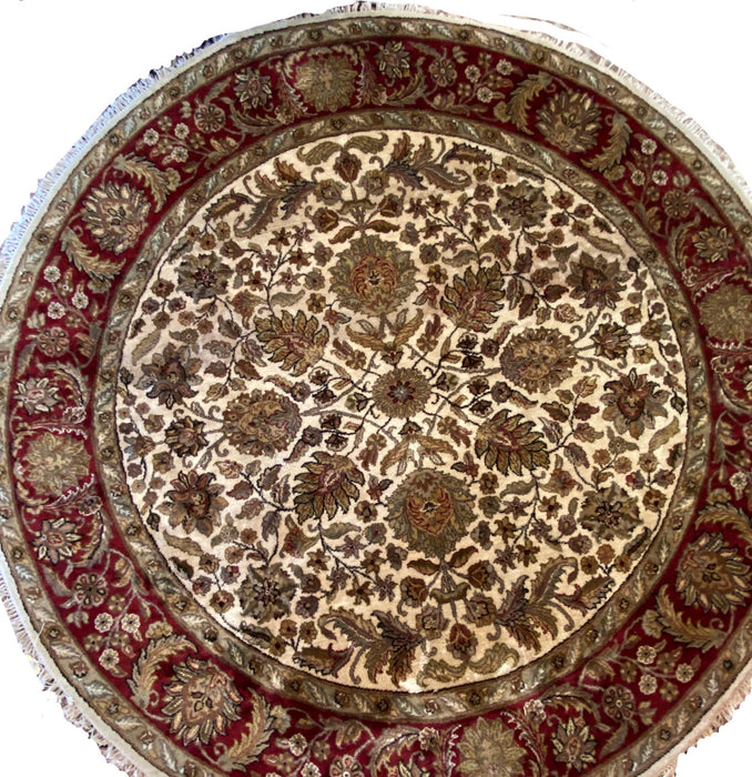 Indian Hand Knotted Round Rug, 8 x 8, Wool,