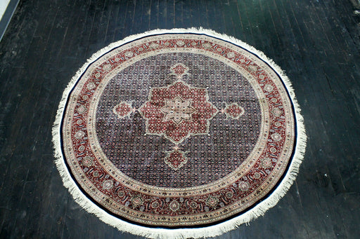 Senno Tabriz Silk And Wool Round Rug, 6 x 6, 400 KSPI - EZ Rugs & Art -rug