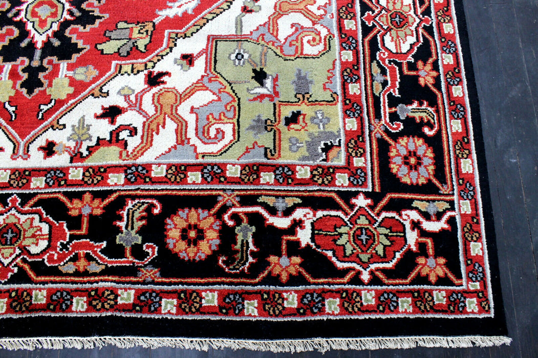 Indo- Persian Heriz, 9X12 Mint New Hand Knotted Super Serapi Heriz, Wool - EZ Rugs & Art -rug