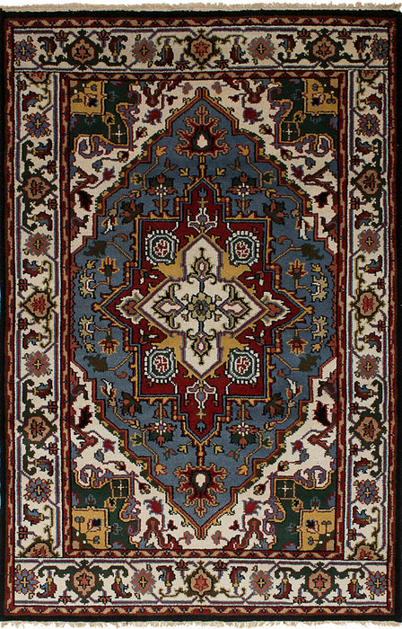 "Royal Heriz Traditional Wool Rug, Hand-knotted Carpet 5'1"" x 8'0"" - EZ Rugs & Art -rug"