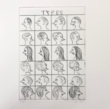 "Load image into Gallery viewer, David Shrigley Etching ""Types"""