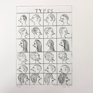 "David Shrigley Etching ""Types"""