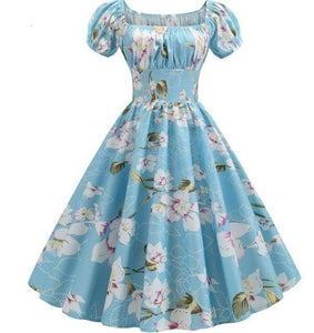 Violet and white Flower Print Puff Sleeve Elegant A-line light Blue Dress