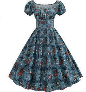 Red Roses and White Clover Print Puff Sleeve Elegant A-line Dress