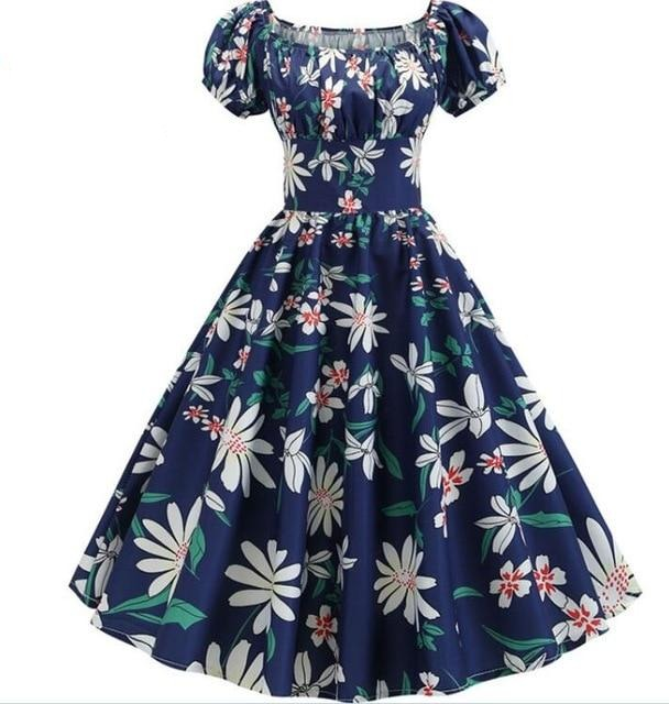 White Flower Print Puff Sleeve Elegant A-line Blue Dress