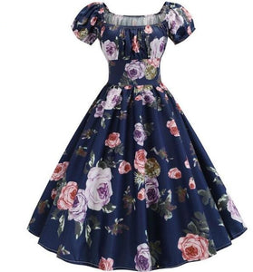 Violet and Red Rose Print Puff Sleeve Elegant A-line Blue Dress