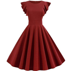 Red Frill Sleeve Vintage Dress