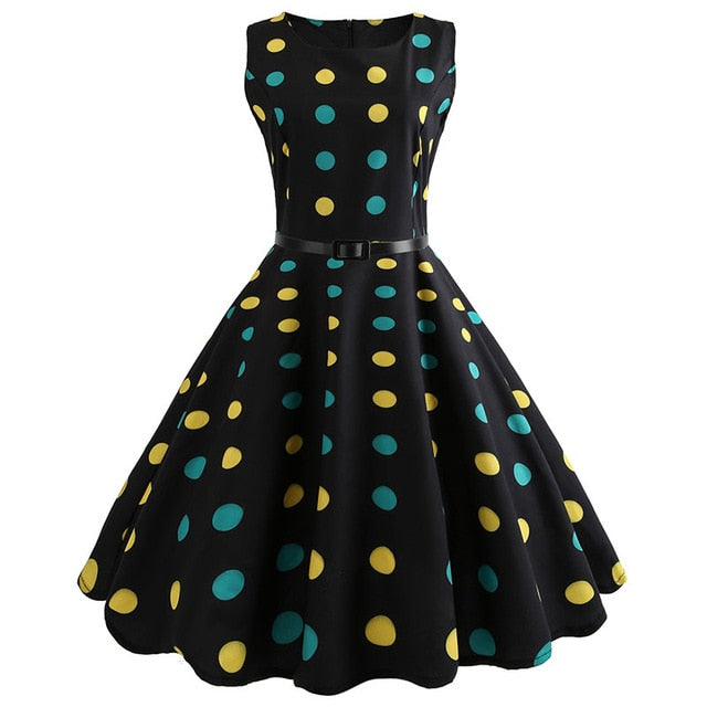 Black Sleeveless Scoop Neck 50s Dress with Yellow and Green Dot Print