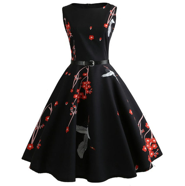 Black Sleeveless Scoop Neck 50s Dress With Flower and Vine Print