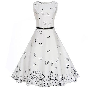White Sleeveless Scoop Neck 50s Dress With Music Notes Print Design