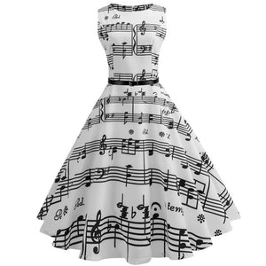 Musical Notes Print Sleeveless Scoop Neck 50s Dress