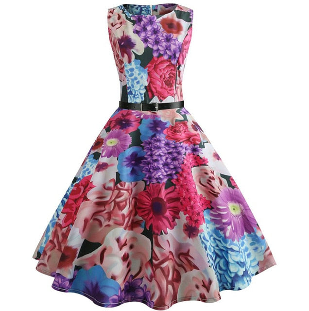 Flowery Print Sleeveless Scoop Neck 50s Dress