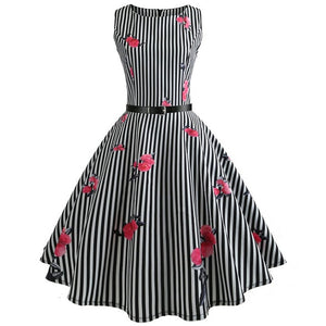 Black Stripes Sleeveless Scoop Neck 50s Dress with Rose Print