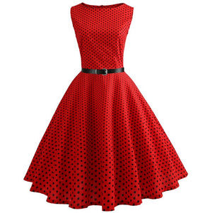 Red Sleeveless Scoop Neck 50s Dress with Small Black Polkadot