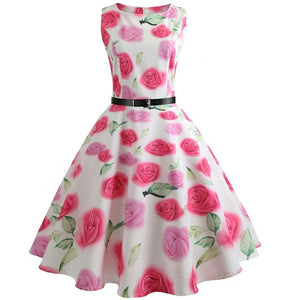 White Sleeveless Scoop Neck 50s Dress with Pink Rose Print
