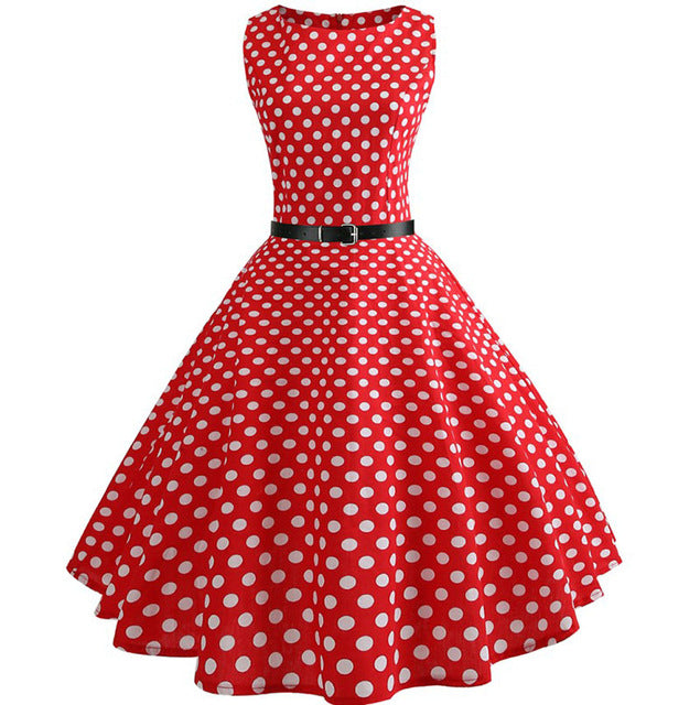 Red Sleeveless Scoop Neck 50s Dress with Small White Polkadot