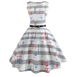 White Sleeveless Scoop Neck 50s Dress With Musical Notes Print
