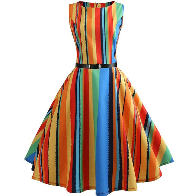 Colored Vertical Stripes Sleeveless Scoop Neck 50s Dress
