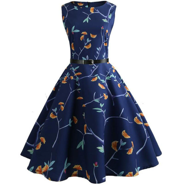 Blue Vine Print Sleeveless Scoop Neck 50s Dress